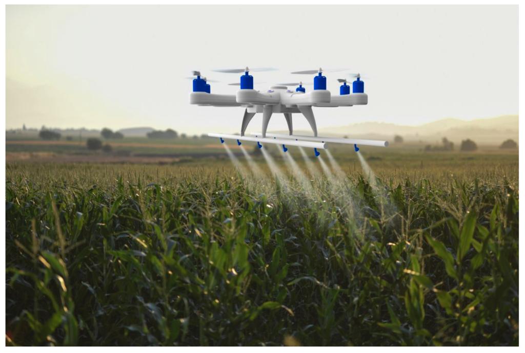 Иллюстрация беспилотника, который опрыскивает посевы